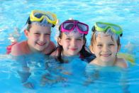 Kids having fun in the private pool of an Outer Banks rental