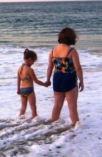Two girls on the beach in Kitty Hawk North Carolina