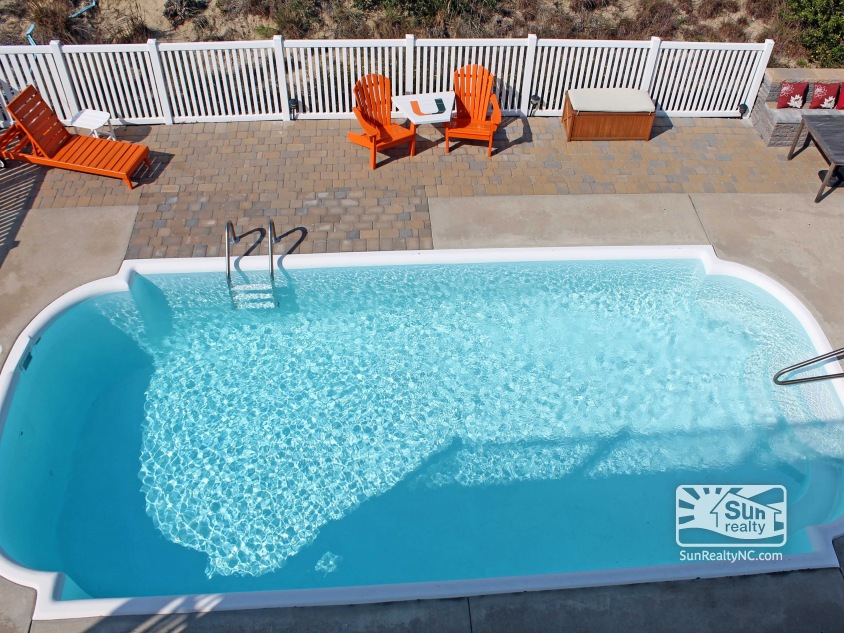View into Pool Area from Top-Level Deck