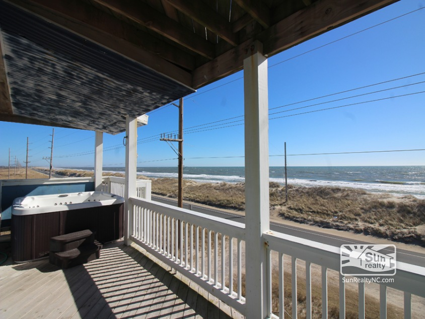 Third-Level Ocean View Deck with Hot Tub